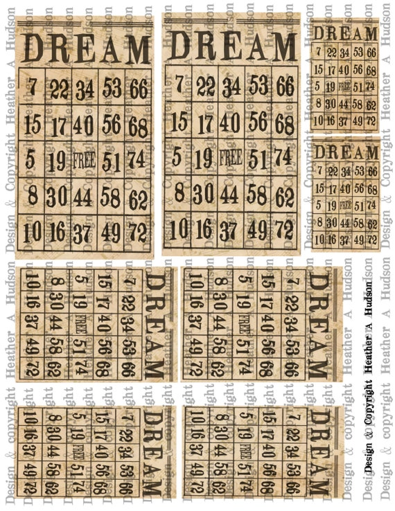 "Vintage ""Dream"" Bingo cards Ivory Music Digital Collage sheet Printable"