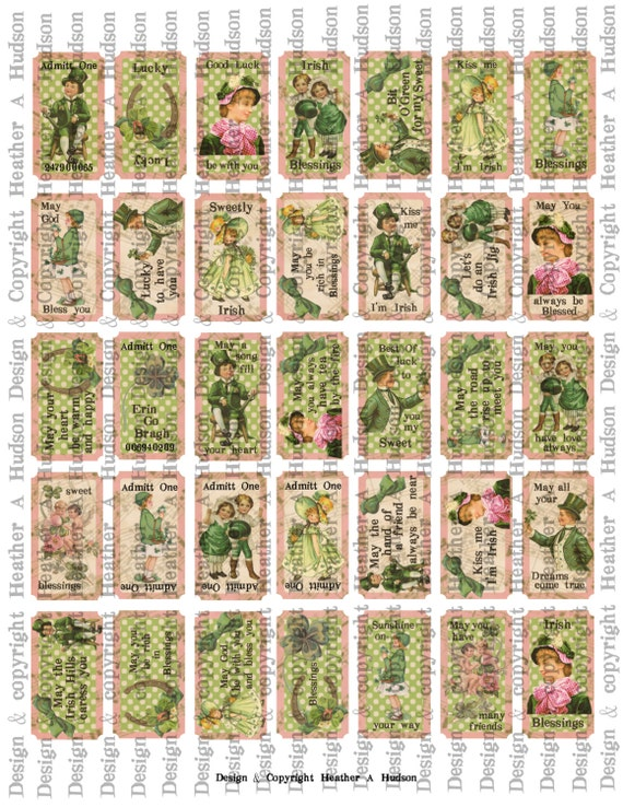 Victorian Vintage Shabby Chic Pink & Greens St. Patrick's Day Tickets Irish Blessing  Digital Collage sheet Printable