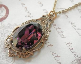 Swarovski AMETHYST Glass pendant Necklace.Victorian Style jewelry.