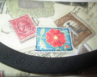 Stamp collecting Fabric 6-1/2 x 3, With a real Love floral Stamp sewn to the front flap, Stamp gift wallet
