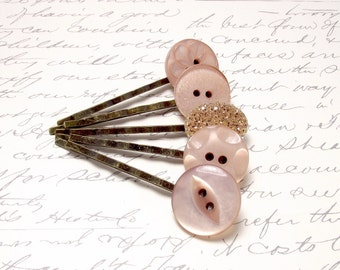 Vintage Peach Rose Gold Button Bobby Pins. Rustic Wedding Hair Accessories. Peach and Rose Gold Hair Pins. Set of 5.