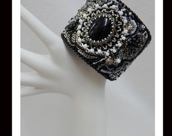 Women's Black and White Hand Beaded Cuff Bracelet-300 Handmade, beadwork, bead embroidery, accessories, jewelry, women, earrings, OOAK, Cuff