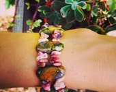 New earth beauty- rhyolite and rhodonite-gemstone bracelet