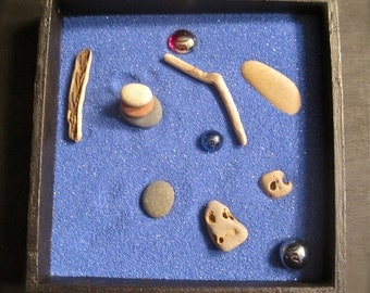 Mini Zen Garden with drift wood and sea stones:  square
