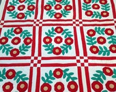 Vintage Quilt Red Flower Applique Hand Stitched Quilt Wall Hanging or Full Size Bedding