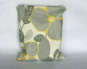 Wet Bag in Gray and Yellow Optic Blossom Amy Butler Fabric - Diaper Bag - Beach Bag - Gym Bag - Waterproof Bag