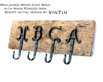 Reclaimed Wood Coat Rack with Hand Forged Iron Script Initial Hooks by VinTin