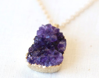 Natural Raw Cut Amethyst Stone Necklace / 14K gold filled / Boho layering luxe jewelry