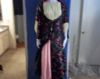 Black/ Dark Pink Floral Brocade Ghawazi Coat