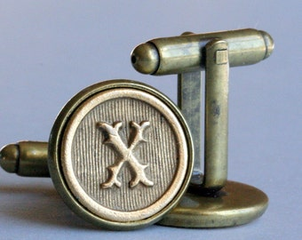 Custom Initial Letter Cufflinks Cuff Links Wedding Personalized Gift Typewriter Key Groomsman Antiqued Brass