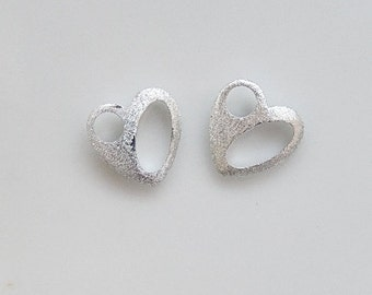 2pcs Sterling silver  textured  heart  charms (10x10mm)