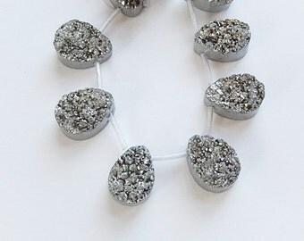 2pcs Silver druzy teardrop  briolette  bead  (18x13mm)