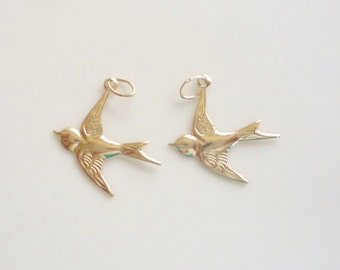 14K gold filled dove bird charms (18mm) with oval closed jump ring, flying bird charm
