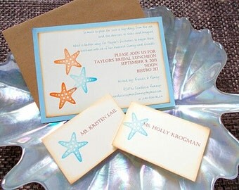 Blue Starfish Bridal Shower, Bachelorette Party, Bridal Luncheon Invitation Sample (No. 115.1)