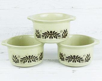 Vintage soup bowl - Floral Brown Crema Kiln Craft Breakfast Cereal Handle