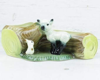 Vintage Hornsea lamb and rabbit Tree Trunk - Posy Decor Large Trinket Dish Collectible English