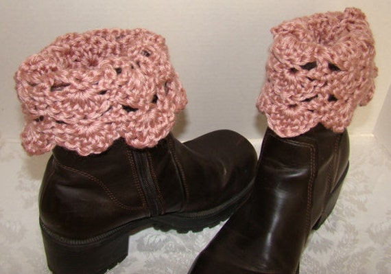 Hand Crochet boot cuffs in soft pastel pink with scallop edging