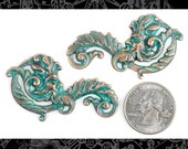 Green Man Aqua Copper Plated Brass Vintage Style Pendants or Wraps  V-P74