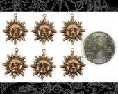 Copper Plated Brass Sun Charms, Set of Six  C-C81