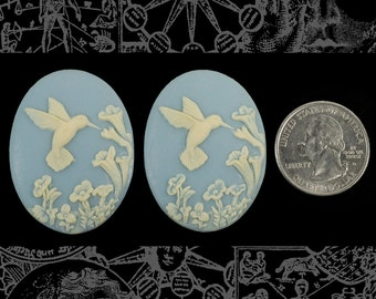 Hummingbird 30x40mm Cameos - Two Cream and Wedgwood Blue 30x40mm Resin Cameos  CAM110