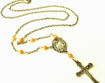 Sterling silver rosary necklace, coral and antique art nouveau French cross OOAK