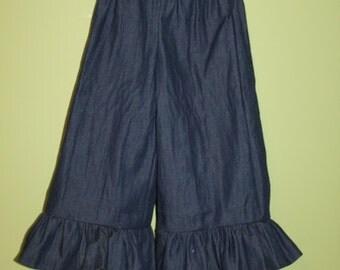 Girls Denim ruffle pants