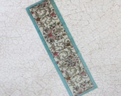 Miniature Carpet Runner Floral With Aqua Border in 1:12 Scale
