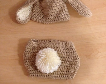 Bunny Beanie and Diaper Cover Set. Boy or Girl Sizes Newborn - 12 Months.