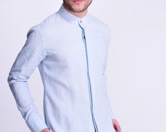 Blue Jasper / Linen Men's Shirt with Hidden buttons/ 14 Colors / RAMIES
