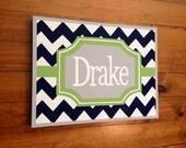 personalized custom canvas to match your child's decor- green navy blue chevron boys nursery art