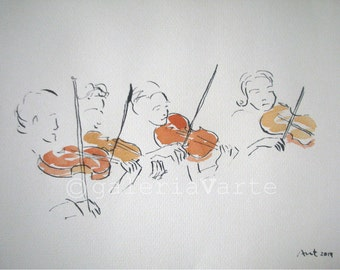 Original ink and watercolor drawing - Violin quartet - europeanstreetteam