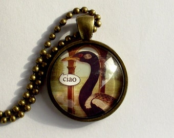 SALE. Ciao. Italian talking bird pendant. . Talking bird necklace. Antique brass frame and chain. Greetings phrase
