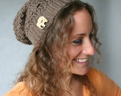 Slouch Hat in Light Brown - Lucky Elephant Vegan Slouch Hat with Elephant Button