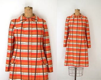 1960s Plaid Coat / 60s Red Bill Blass Coat