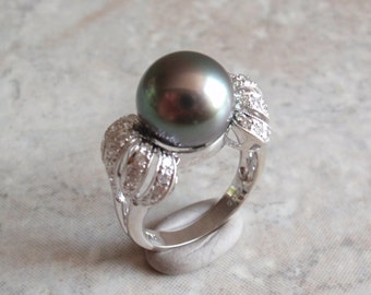 Tahitian Pearl Ring 11mm Black Pearl 18K White Gold Diamond Size 6-1/2  Vintage 092113SB