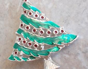 Christmas Tree Brooch Pin Green Red Enamel Silver Tone Rhinestone Star Vintage E0052