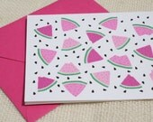 Illustrated Watermelon Slices Pattern Pink  Blank Folded Card