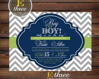 Printable Baby Boy Shower Invitation - Navy and Lime Green Chevron Boys Shower Invitation