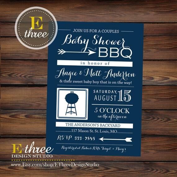Couples Bbq Baby Shower: Couples Baby Shower BBQ Invitation BabyQ Boy's Shower
