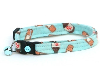 Doctor Cat Collar - Bandages and Medicine on Blue - Kitten or Large Size