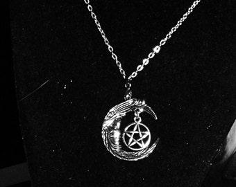 Silver Moon, Pentagram Pendant / Silver Moon Witch Pendant