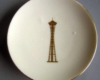 Vintage Seattle Space Needle Souvenir PlateTrinket Dish - 1962 World's Fair