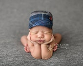 newborn BOY fabric hat (James) - photography prop - grey, blue, navy, red, black, dark grey, light grey