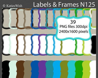 Instant Download Labels and Frames Digital Clip Art PNG files CU for scrapbooking, invites, card making