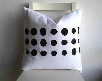 Black Dots on  White 18 x 18 Cushion cover