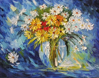 Night Whisper 23x30 Original Oil Panting Flowers Palette Knife Bouquet Arrangement Blue Daisies Yellow Vase Home Decor Wall ART by MARCHELLA