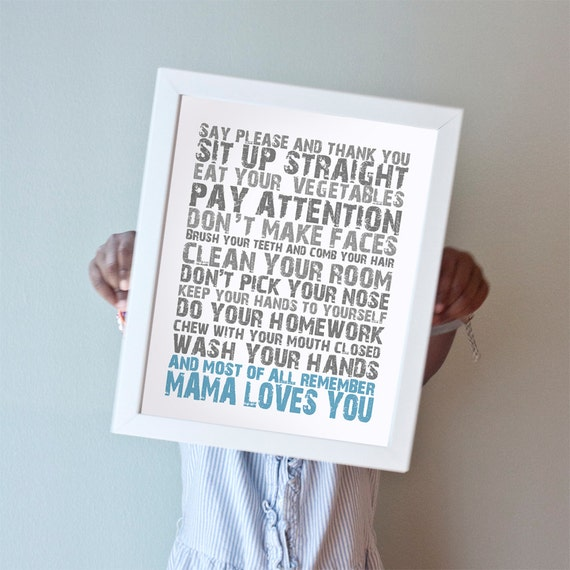 Printable 11x14 Mama Loves You in Blue