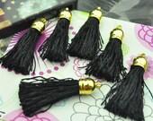 Tassel 50pcs Black Silk Tassels Fiber Tassels Fringe Tassels with Gold Cap Charms pendants 35x10mm