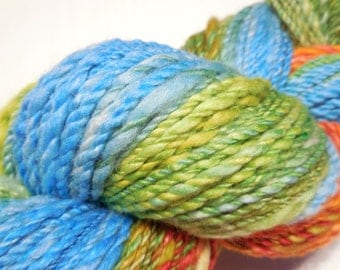 Handspun handpainted merino/milk thick and thin textured 2 ply yarn - 94 gr (3.3 oz) - Summer
