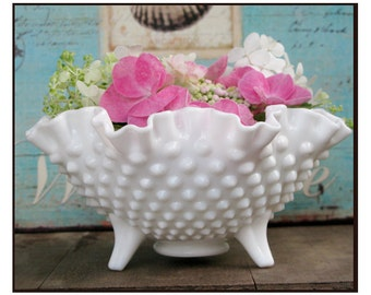 Fenton Milk Glass Hobnail Candy Dish/ Milk Glass Hobnail Centerpiece/ Shabby Chic With Three Little Feet